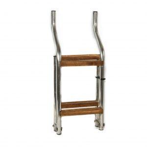 Scaletta ribaltabile in acciaio con scalini in legno iroko e con attacco a S per plancetta